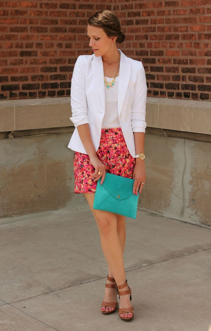 Patterned Shorts with White Blazer