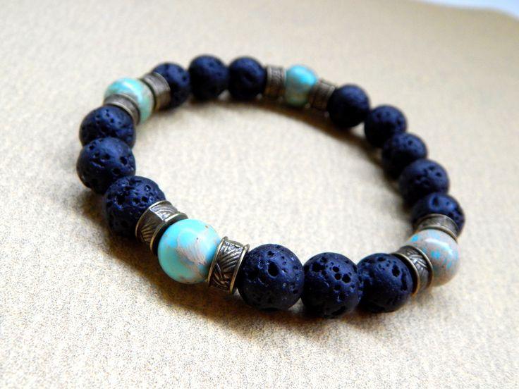 Bracelet homme de pierres de lave noire avec pierre jaspe sédiment vert mer : Bijoux pour hommes par caromoon