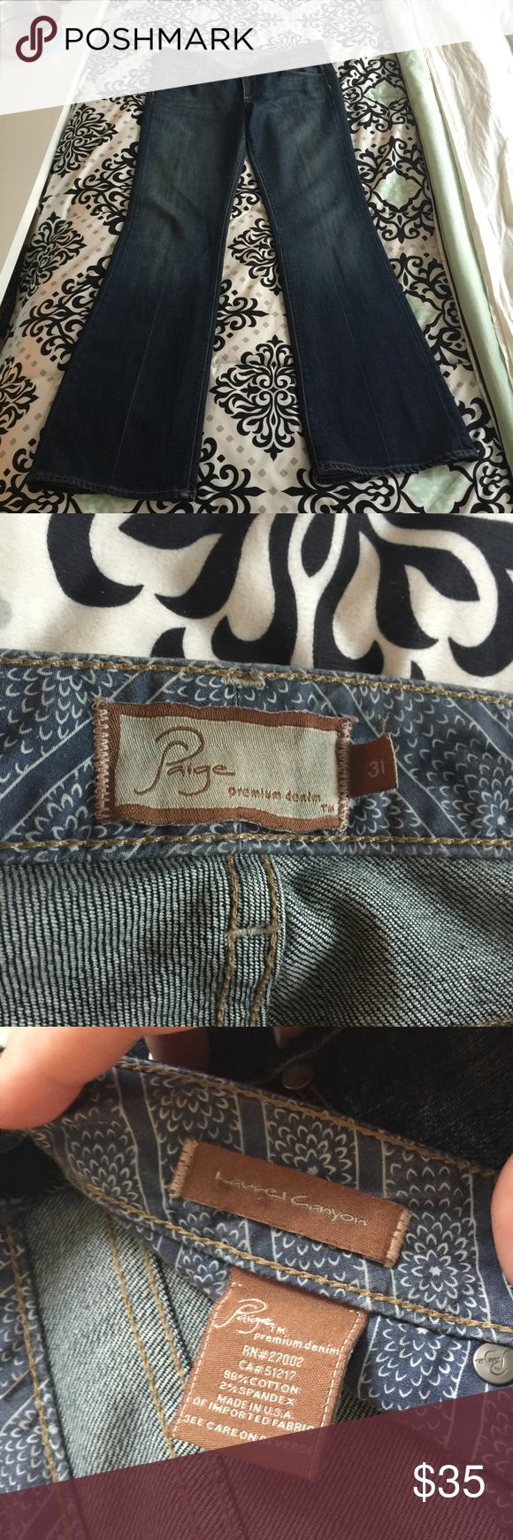 Paige Premium Denim Jeans Laurel Canyon low rise jeans. Have a great stretch and a slight flare to them. Great to wear with heels! Paige Jeans Jeans Boot Cut