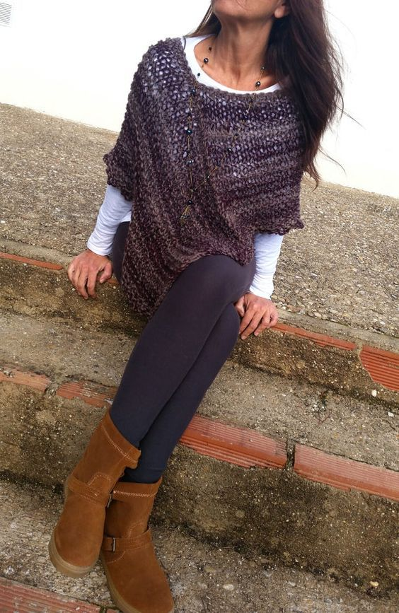 Hey, I found this really awesome Etsy listing at https://www.etsy.com/listing/221301586/knitted-wrap-maroon-wool-ponchoooak-knit: