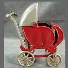 Old Cast Iron Toy Doll Carriage -