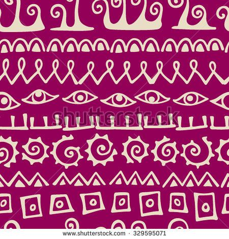 Vector seamless pattern with hand drawn elements  made in cave drawings style. Beautiful design elements.
