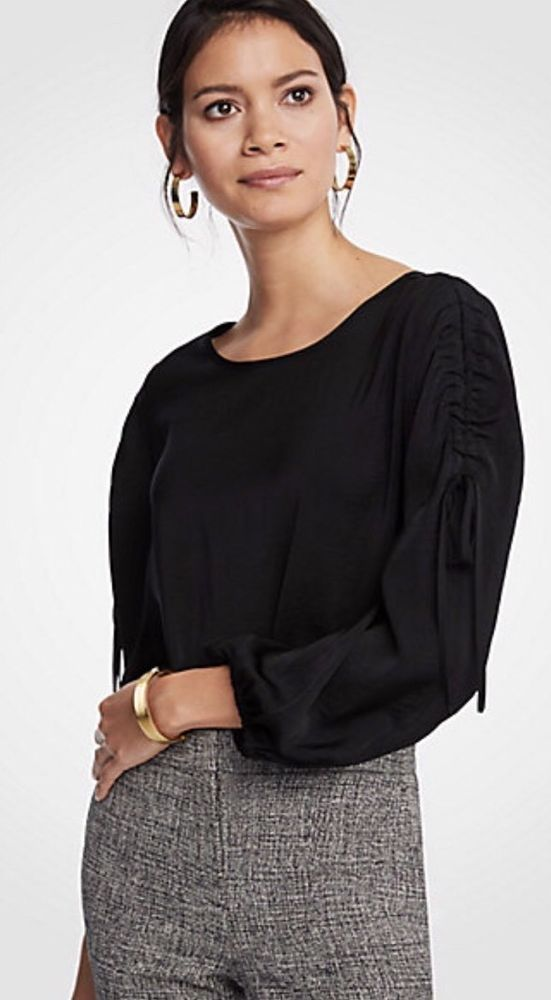 4c741b9e NWT Ann Taylor Shirred Tie Sleeve Blouse Medium ~M~ Black | eBay ...