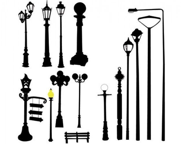 ações vetor poste da rua poste de luz da estrada