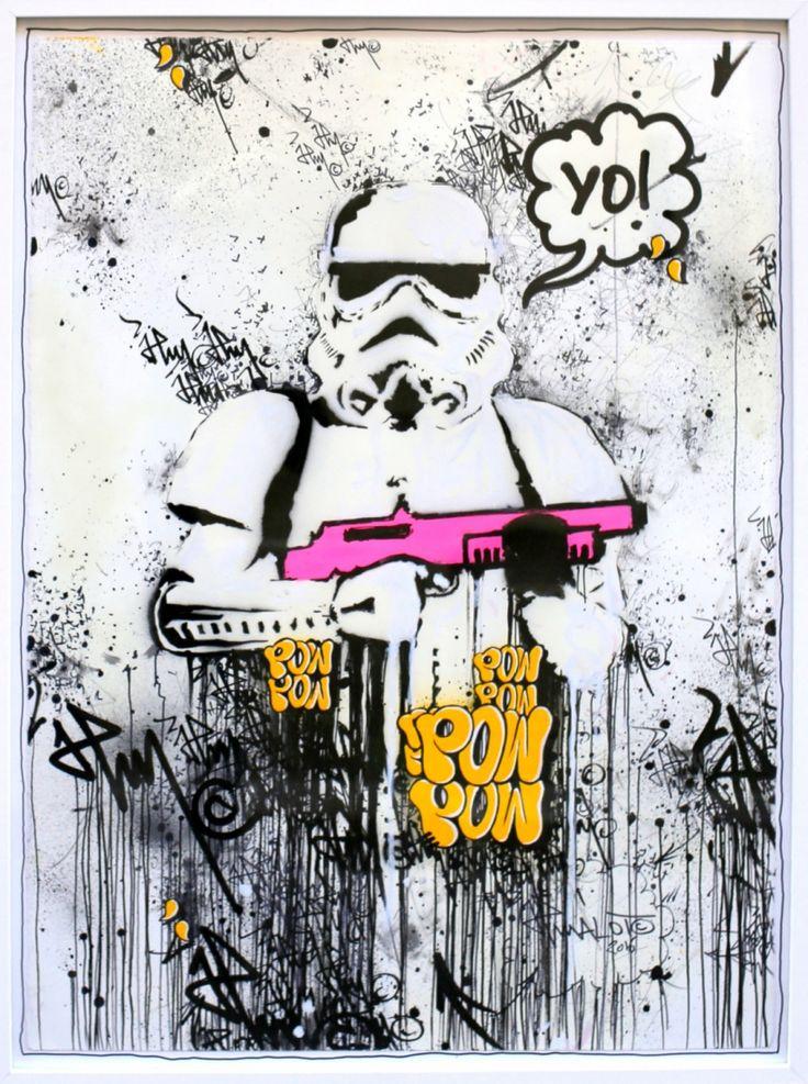 Spray, acrylique, et encres diverses sur papier d'art 300g. Œuvre réalisée au retour du trip et de la série collée entre Paris et Londres et plus spécialement dans les quartiers de Shoreditch et Bricklane. Signé en bas à droite. Avec certificat d'authenticité. Sans cadre: 76x56cm.
