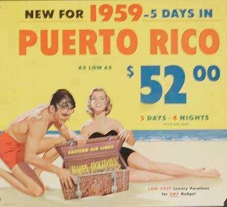 DP Vintage Posters - Puerto Rico Original Vintage Eastern Air Lines Travel Poster