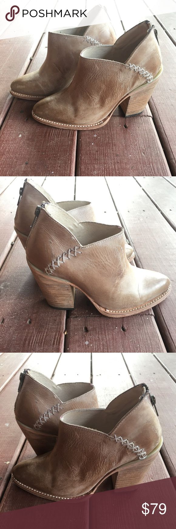 Freebird by Steven - Steel Ankle boots Freebird Steel Boots Taupe Booties - Size 8 M. NWOB.  Made with antiqued leather featuring topstitching detail.  Back-zip closure.  Almond toe on a low ankle bootie silhouette.  All Leather. Heel Height: 3 1⁄4 in Freebird by Steven Shoes Ankle Boots & Booties