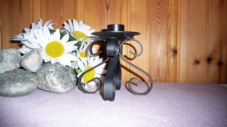 Vintage Cast Iron Wrought Black Metal Large Candle Holder, Candle Stick Stand by Grandchildattic on Etsy