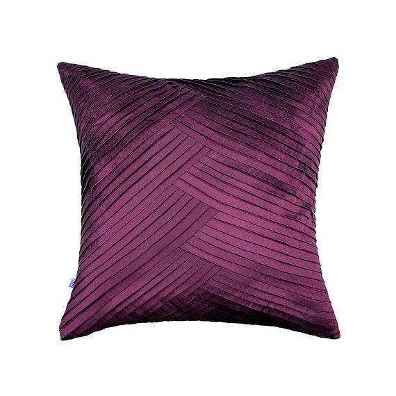 Dark Purple Plum Criss Cross Pillow Cover It Will Not Be The Sofa