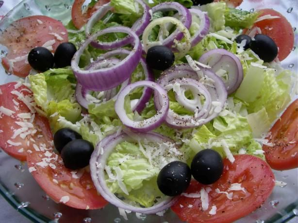 Olive Garden Salad (Copycat) from Food.com:   My whole family loves Olive Garden's Salad! There are already a couple of recipes here for the dressing, so here is a recipe for the salad itself.