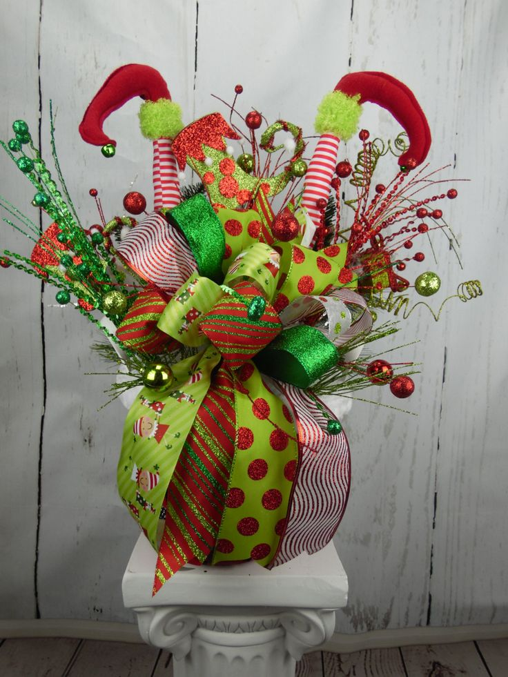 Elf Centerpiece, Christmas Centerpiece, Holiday Centerpiece, Elf Leg Decor, Holiday Decor, Table Decor, Elf Decor, Red and Green Christmas by SwaymeVegas on Etsy