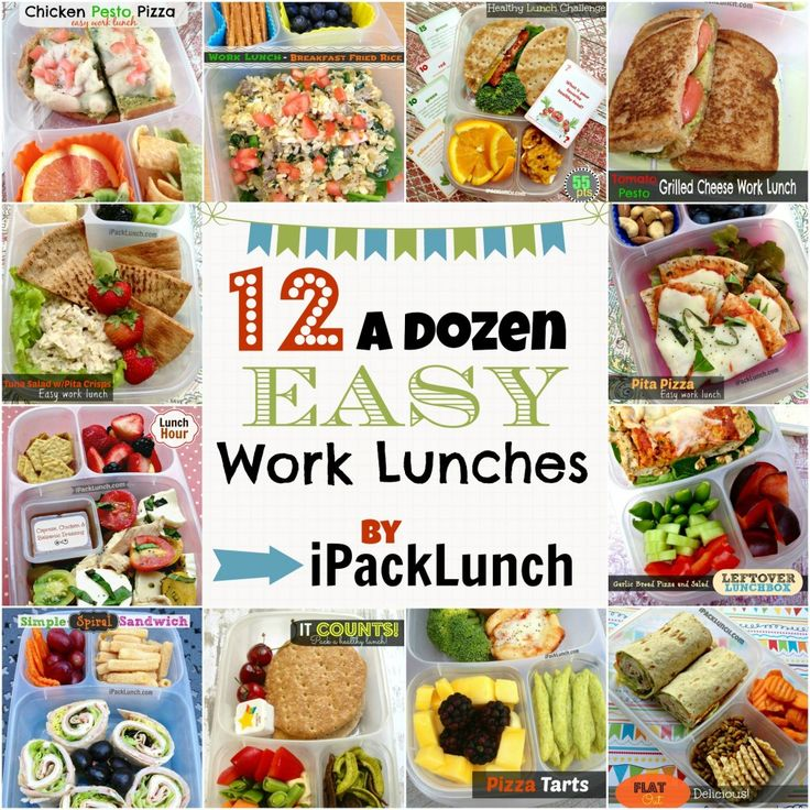 One dozen (12) Easy Work Lunch Ideas compiled in a single post all featured in @EasyLunchboxes! Bring lunch to work!