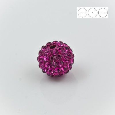 Discoball Bead 12mm Fuchsia  Dimensions: 12mm Stones which were used in a ball are from Preciosa Company  1 package = 1 piece