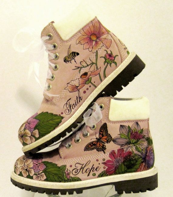 Kids boots hand painted Timberland faith by TheWoodsSecretGarden, $129.00