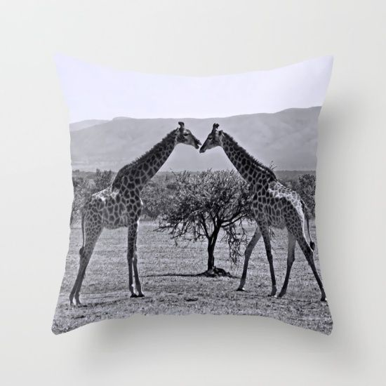 Giraffe Talk. Throw Pillow made from 100% spun polyester poplin fabric.