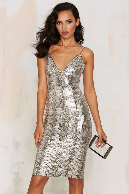 Rare London Stop and Stare Metallic Dress