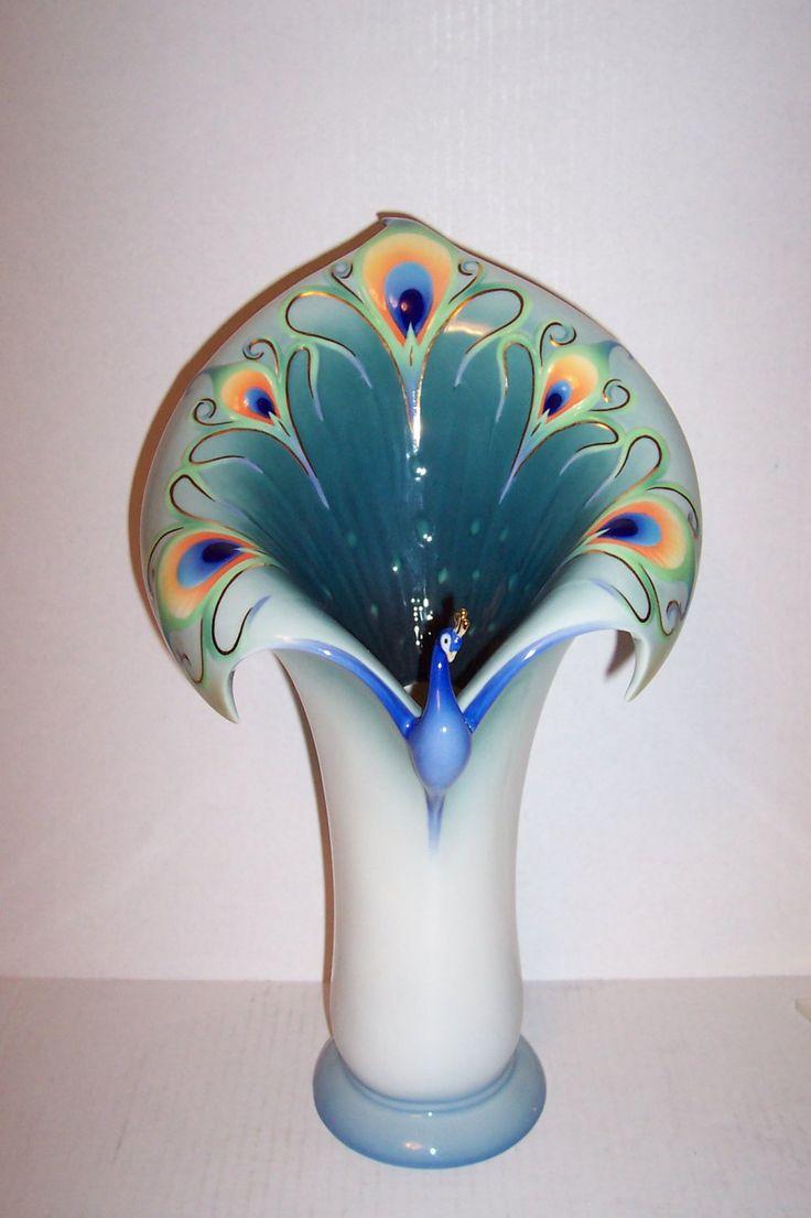 """Gorgeous Franz Luminescence Peacock Splendor Poecelain Scupltured Vase 14 3/8"""""""
