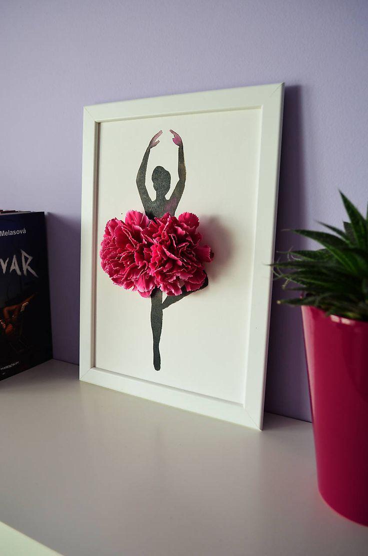 Balerína/3D obraz/kvetinové umenie