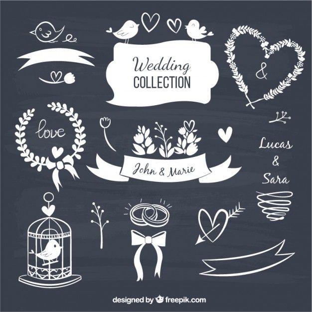 Casamento elementos decorativos em estilo negro Vetor grátis