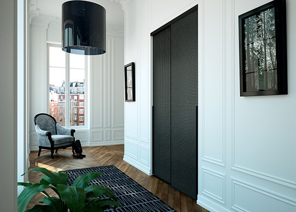 kazed portes de placard coulissantes traditionnel verre laqu d co ellipse noir couloir. Black Bedroom Furniture Sets. Home Design Ideas