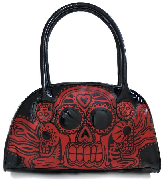 Day of the dead Voodoo black n red handbag by sacchetto on Etsy, $50.00