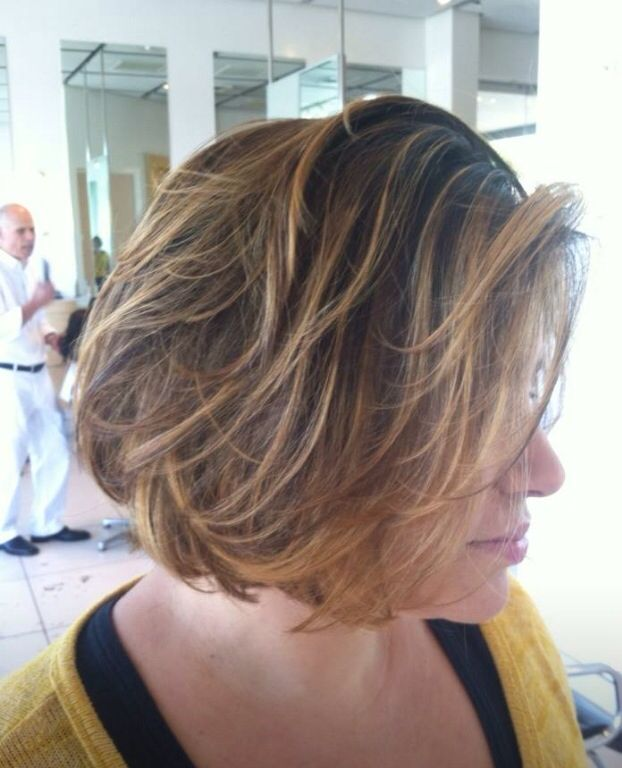 short hair balayage painted bob highlighted chin length. Black Bedroom Furniture Sets. Home Design Ideas
