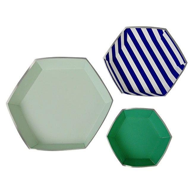 Meri Meri Paper Platters Eat Drink Blue - Assorted
