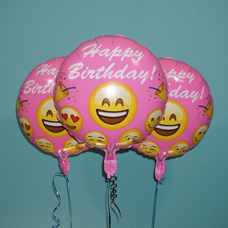 """Emoji 18"""" Pink Happy Birthday Helium Balloons 3 Pack"""