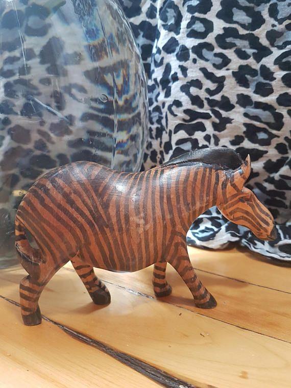Vintage wooden zebra handmade in Africa hand carved wooden