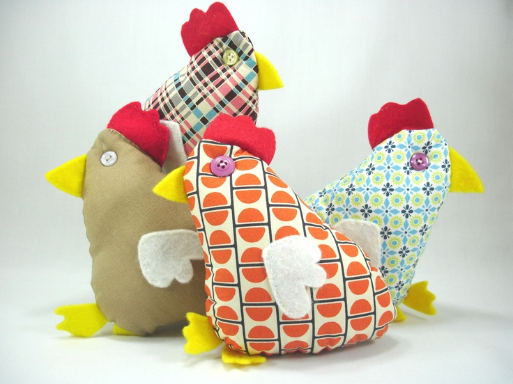 """Chicken softies 16cm-6"""" high, colorful fabric or brown linen @Anou Design"""