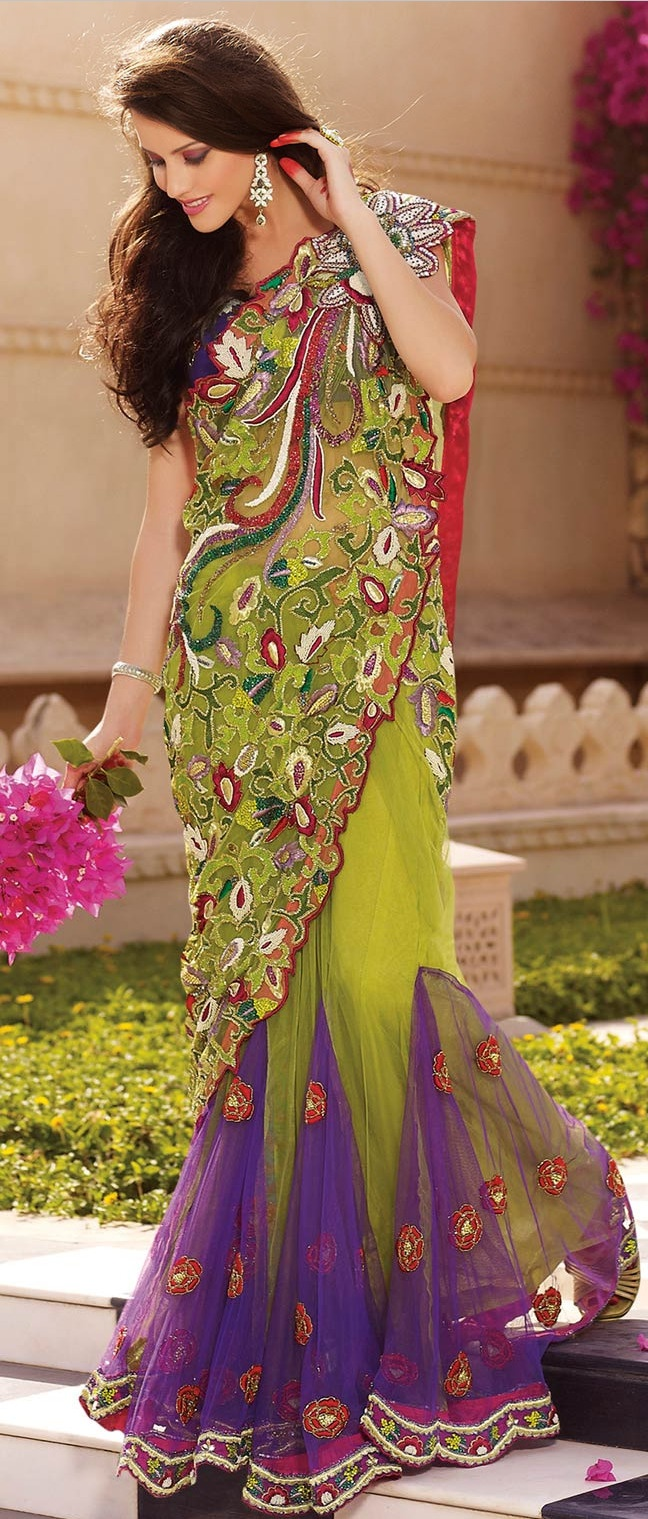 Pista #Green and #Violet Net #Lehenga Style #Saree With #Blouse @ $683.31