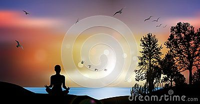 Woman silhouette sitting on a hill in meditating pose near peaceful blue water at sunset with birds flying in the sky and trees. Tranquility wallpaper illustration. Back view in sun light rays.