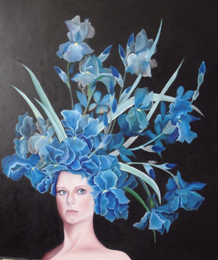 Regina di Fiori. Regina di Iris o Ritratto di Jessica Pratt. Olio su tavola. 70 x 100 cm. Di Sara Calcagno, pittrice italiana