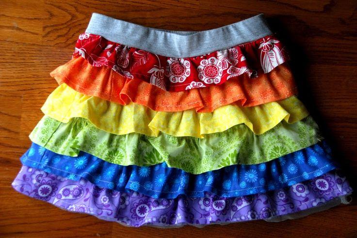 Day #79 - Rainbow Ruffle Skirt Tutorial - Meaningfulmama.com