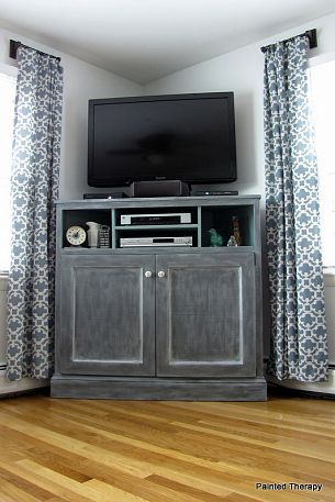 This #DIY console was built from Ana White plans to get the TV up and off the ground — perfect for families with dogs or kids who can get in the way of your favorite show!