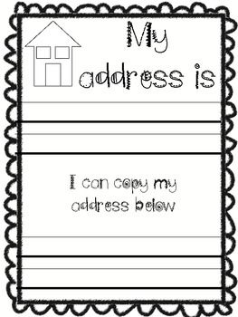 What S My Address And Phone Number Kindergarten Back To School