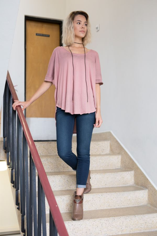 Free People Saturn Tee Soft and shapeless cotton tee featuring a slight v-neck and unfinished trim throughout.   #outfit #style #ootd #freepeople #jeans #tee