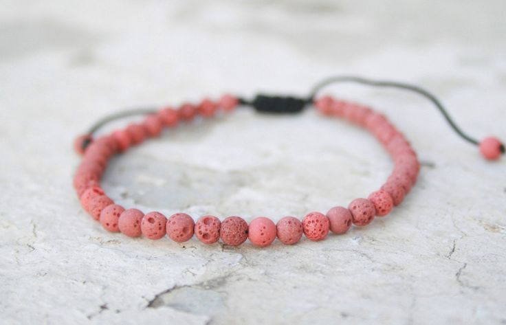 Lava Bracelet, Unisex Bead Bracelet, Healing Bracelet, Zen Bracelet, Birthday Gift, Red Lava 4mm, Calm / Grounding, boho style, adjustable by SanguineJewelry on Etsy