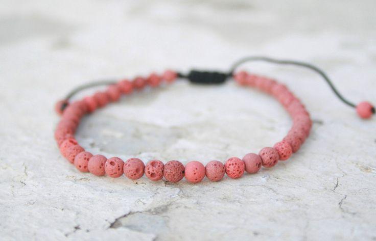 Lava Bracelet, Unisex Bead Bracelet, Healing Bracelet, Zen Bracelet, Birthday Gift, Red Lava 4mm, Calm / Grounding, boho style, adjustable by SanguineJewelry on Etsy
