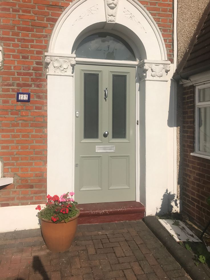 Victorian front door with sandblasted glass recently installed in south London