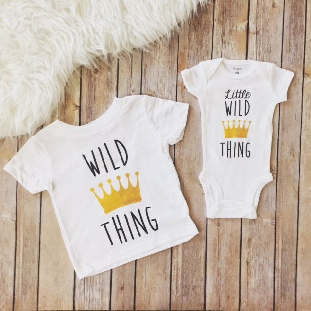 Wild thing and little wild thing, matching sibling shirts, brothers, sisters, brother and sister, wild one shirts, matching wild shirts by KyCaliDesign on Etsy