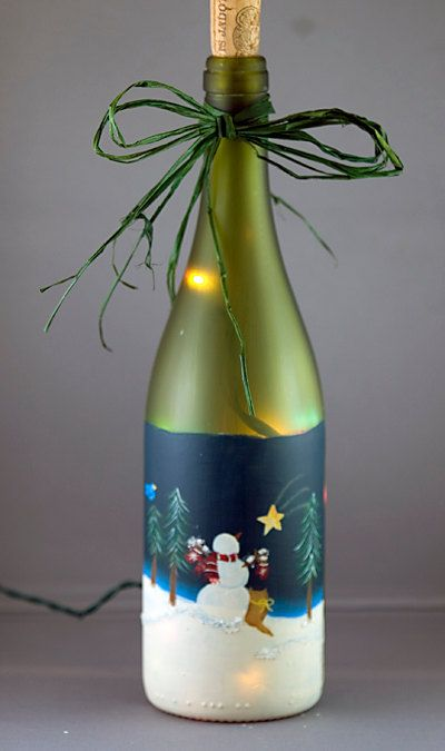 Muñeco de nieve gato botella iluminada reciclado temporada Glitter helado pintado a mano de vidrio cristal Navidad decoración estrella fugaz...