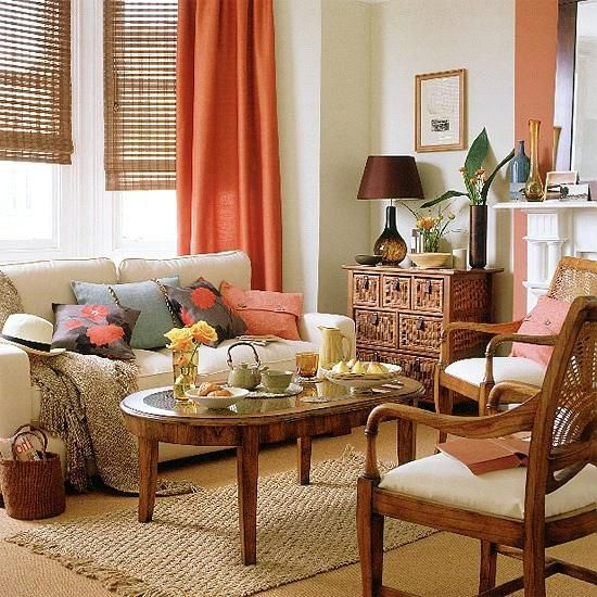 *window treatment. // Burnt Orange Living Room.