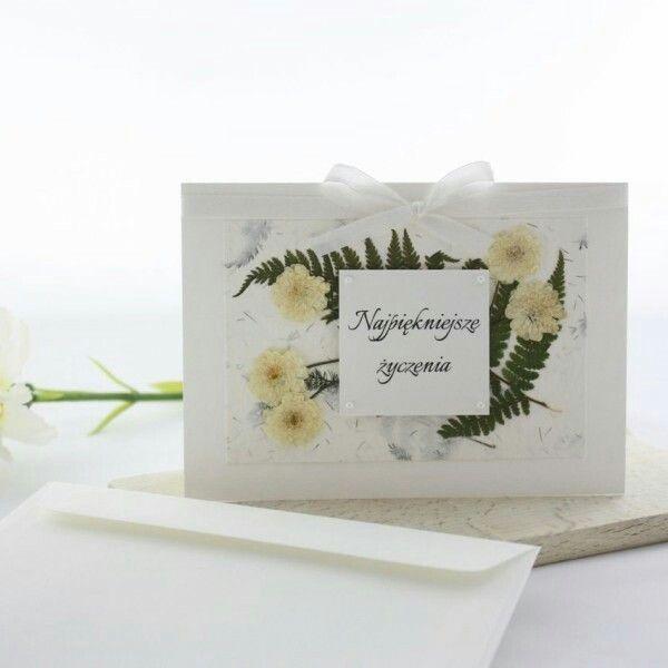 Ręcznie robiona kartka z suszonymi kwiatami -  Faramuszka