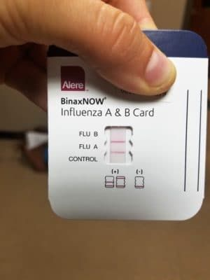 positive rapid flu test. point of care testing. #influenza #flu #fluseason #microbiology