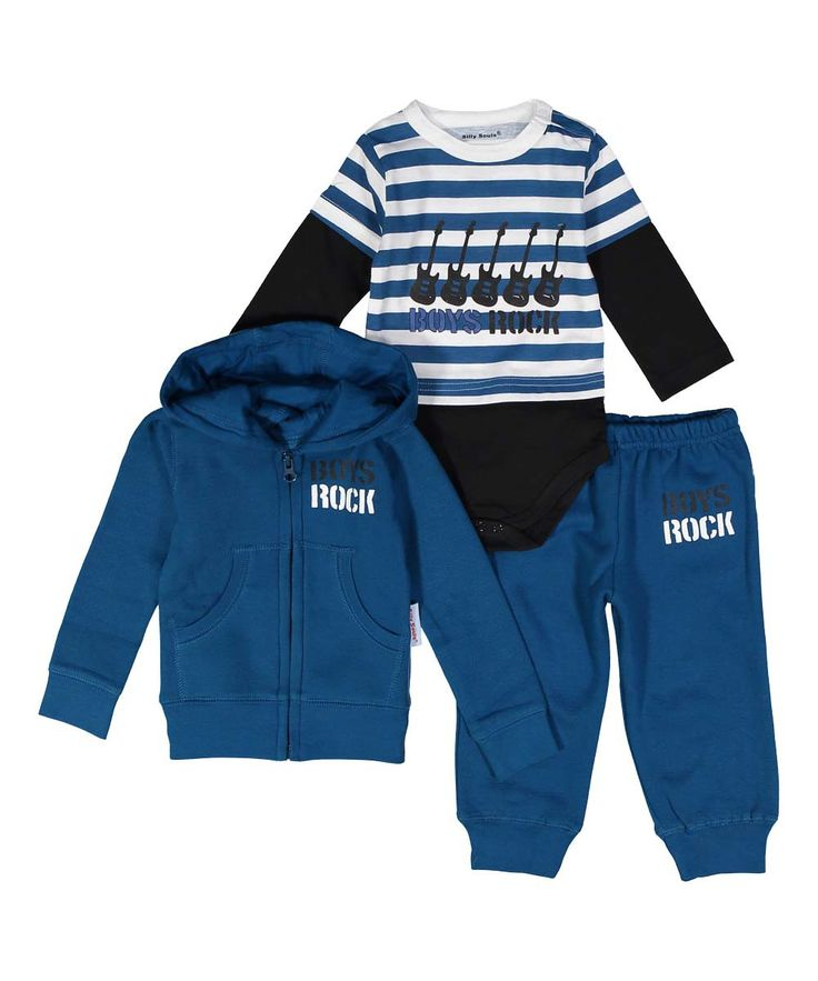 Boys Rock, infant sweat suit and onesie set in cool blue and black - Silly Souls