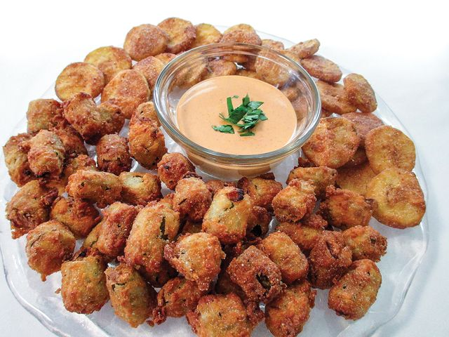 Fried cucumbers and okra with spicy mayo. Hot sauce in the mayo dip gives crisp-fried veggies an extra zing.
