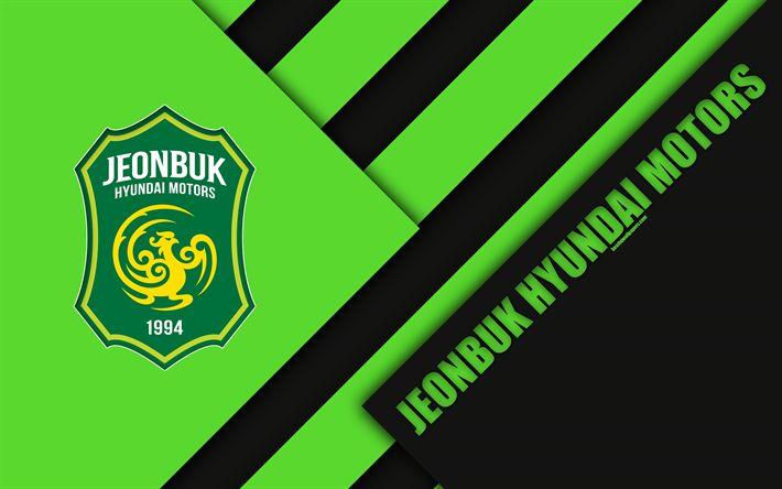 Download wallpapers Jeonbuk Hyundai Motors FC, 4k, logo, South Korean football club, material design, green black abstraction, Jeonju, South Korea, K League 1, football