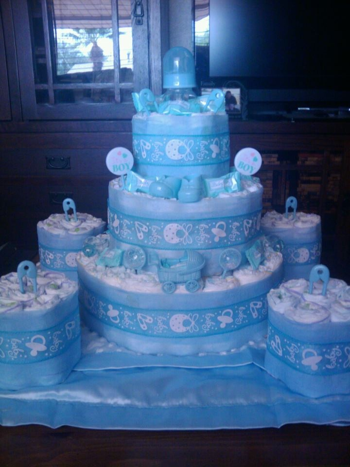 Boys 3 Tier Diaper Cake Made To Match Deco With Mini Cakes For Table  Centerpieces!