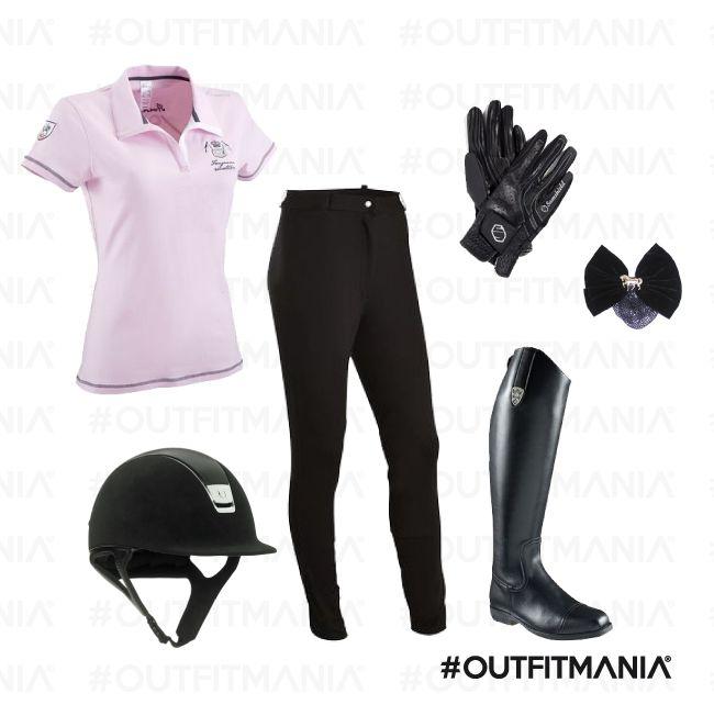 Equitazione |  Leggins caviglia dritta abbinati ad una polo vintage in una nuance delicata di rosa... | #outfitmania #outfit #style #fashion #dresscode #amazing #Fouganza #collana #guanti # Samshield | CLICCA SULLA FOTO PER SCOPRIRE L'OUTFIT E COME ACQUISTARLO